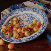 150817-cherries-in-a-blule-willow-plate