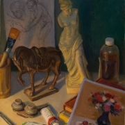 200221-still-life-art-books-horse-statue-venus-14x18