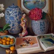 210916-oriental-pocelian-jar-japanese-doll-orchid-hydrangea-art-books-tangerines-30x24