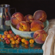 210925-cherries-peaches-and-metal-cup-commission-14x11